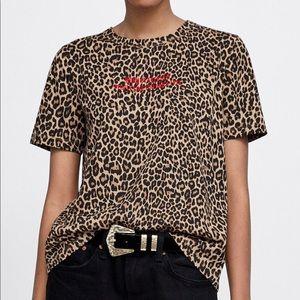 Zara animal print t shirt (leopard print)